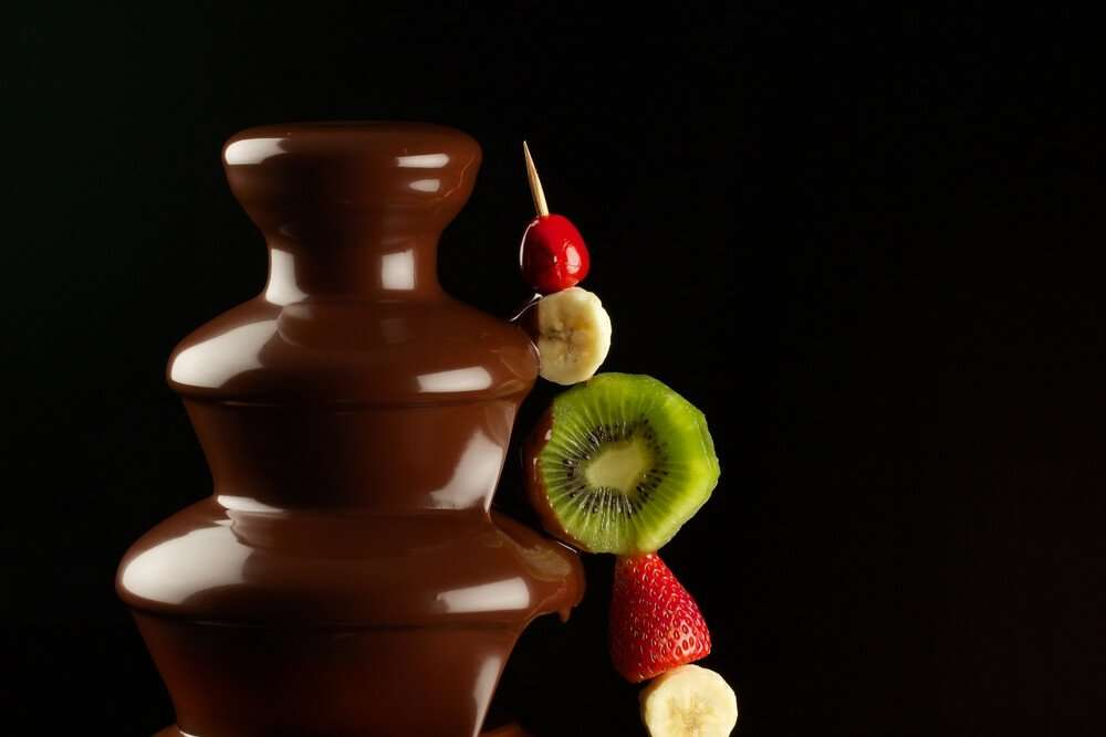 chocolate fountain with skewers
