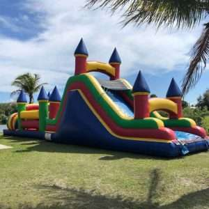large bounce house w/ water slide