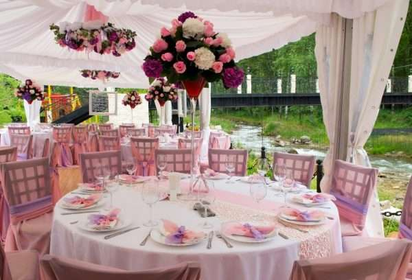 Tent Rentals in Miami pink wedding tables and decor