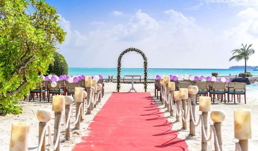 Event Rentals Miami destination beach-wedding-event-under-white-clouds-and-clear-sky-during