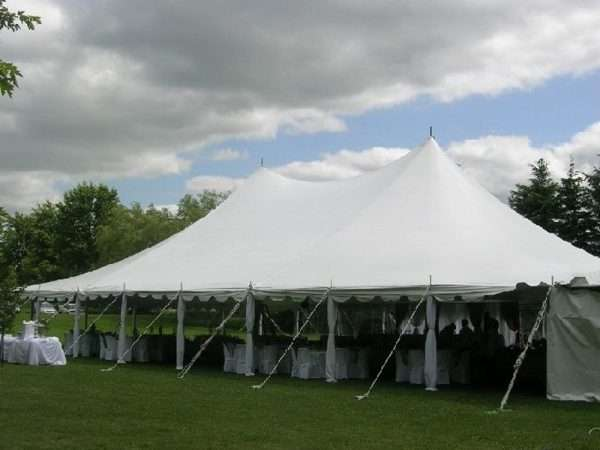 Traditional white pole tent