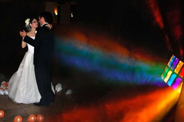 bride and groom dancing to music