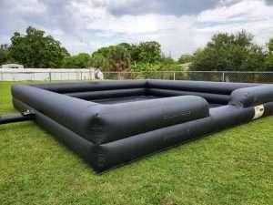 black foam pit on lawn